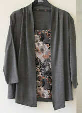 Marks and Spencer M&S Grey Mock 2-Piece Top Waterfall Cardigan Size 8, 10, 14