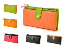 Womens Genuine Leather Clutch Bifold Wallet 22 Card Holders Coin Zip Purse Bag
