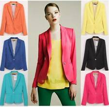 Candy Color Womens Casual slim One Button Tunic Foldable sleeve Blazer Jacket