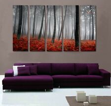 Misty Forest with red bush large quality Canvas Prints Set o 5 framed wall clock
