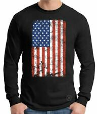 AMERICAN US FLAG LONG SLEEVE SHIRT U.S.A. M-3XL DISTRESSED UNITED STATES AMERICA