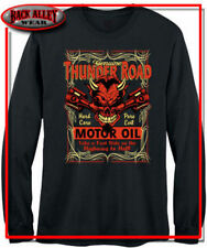 THUNDER ROAD LONG SLEEVE SHIRT M-3XL HARDCORE PURE EVIL MOTOR OIL RED DEVIL HORN