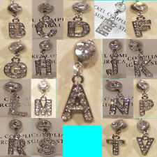 Belly Bar Body Jewellery Initial Alphabet Letter Rhinestone Surgical Steel Navel