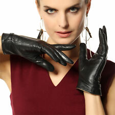 Classic Women's genuine nappa kid leather winter warm dress gloves lined 3 color