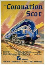 The Coronation Scot. LMS Vintage Travel Poster print by Bryan de Grineau. 1937