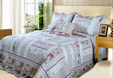 DaDa Bedding Blossoming Light Floral Patchwork Quilted Coverlet Bedspread Set