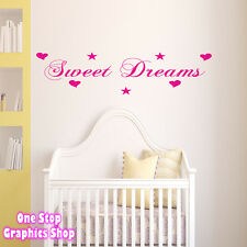 SWEET DREAMS WALL ART QUOTE STICKER  -  BEDROOM BABYS KIDS CHILDRENS LOVE DECAL