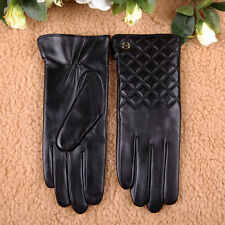 Women Nappa Leather Touch Screen Gloves for iphone Smartphone Gold Plated logo