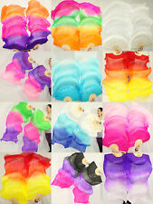 HAND MADE PAIRS 1.5M BELLY DANCE 100% SILK FAN VEILS MULTICOLOR FREE SHIPPING 9