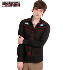 NEW MENS WESTERN ROCKABILLY SHIRT EMBROIDERED SWALLOW TATTOO SIZES RED S M L XL