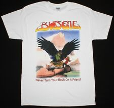BUDGIE NEVER TURN YOUR BACK ON A FRIEND'73 NWOBHM IRON MAIDEN NEW WHITE T-SHIRT