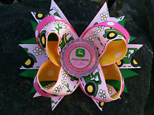 JOHN DEERE PINK BOUTIQUE BOTTLECAP HAIRBOW