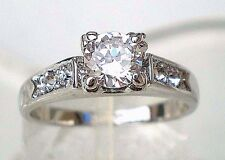 Simulated Solid Diamond Wedding Engagement Ring Various Size