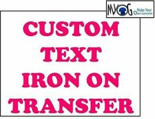 * CUSTOM IRON ON T SHIRT TRANSFER * PERSONALISED TEXT PINK FONT *LIGHT*