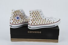 Original  AllStar Chuck Taylor high top Gold Studded White shoes with gold studs