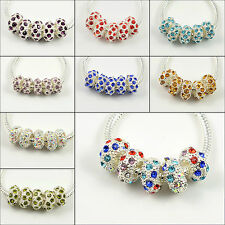 5x, 10x, 20x Crystal Spacer Silver Charm Beads Fit European Bracelet Choose