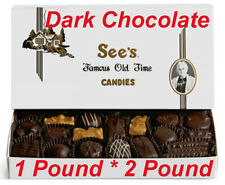 See's Candies Fine Dark Chocolates 1 Pound or 2 Pounds Candy Nuts Free Gift Wrap