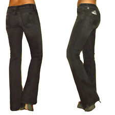 Seven 7 For All Mankind A-Pocket Flare Mid-Rise Jeans Dark Charc Off-Black 24-27