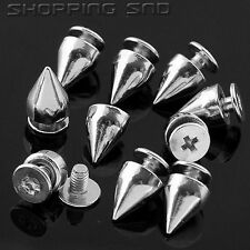 LOT DIY 9mm Silver Cone Screw Metal Studs Leathercraft Rivet Bullet Spikes Punk