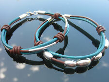 Black Red or Teal Brown Genuine Leather Cord Bracelet 925 Sterling Silver beads