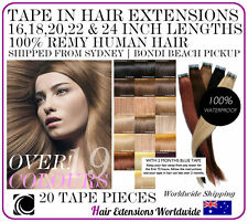 """16, 18, 20, 22, 24"""" TAPE IN (SKIN Weft) 100% Human Remy Hair Extensions - Sydney"""