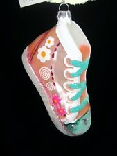 BLOWN GLASS HIGH~HI-TOP TENNIS SHOE ORNAMENT~LIGHT OR BRIGHT PINK~NWT