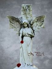 Angel with Cross and Roses Original Handemade Signed Matted Picture A269
