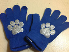 BLING  Paw Print Sparkle Glitter Magic Gloves Bulldogs Tigers Leopards Cougars