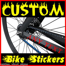 4 x PERSONALISED NAME vinyl bike frame stickers bmx scooter FLAMES DESIGNS