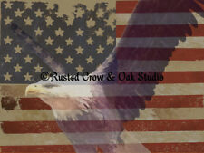 Bald Eagle on Aged American Flag Matted Photo Picture Wall Art Room Decor A211