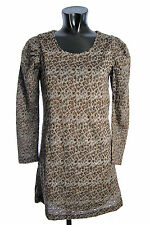 YUMI Women's Dress K1561 C Grey Brown Top Tunic Blouse Spotted Casual Party