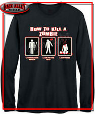 How To Kill a Zombie Long Sleeve T-SHIRT DEAD WALKING M-3XL Funny Design UNDEAD