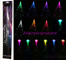 "20 pc LOT OF 20"" LED FIBER OPTIC CLIP ON COLORED HAIR LIGHT LIGHTS UP EXTENSIONS"