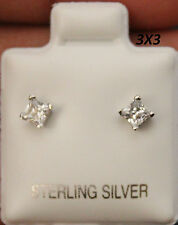 Sterling Silver Clear CZ Studs,White Gold Coated, AAA Prong Square Setting