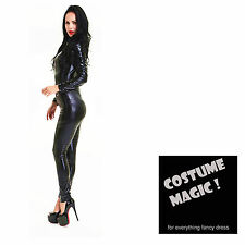 Black Shiny PVC CATSUIT Catwoman Ladies Fancy Dress COSTUME 10 12 14 16 18 20