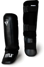 TITLE PRO Style Shin Instep Guards Black martial arts mma muay thai kickboxing