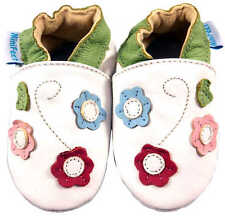 MINIFEET SOFT LEATHER BABY GIRLS SHOES 0-6, 6-12, 12-18, 18-24 MTH TRIPLE FLOWER