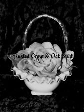 Black and White Rose in Glass Basket Matted Picture Wall Art Room Decor A220