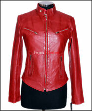 Sienna Red Ladies Retro Biker Style Real Soft Waxed Effect Sheep Leather Jacket