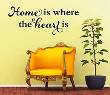 Home is Where The Heart Is -  Removable Vinyl Wall Art Decal Home Decor Sticker