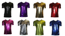 MENS METALLIC SHINY PVC SILVER BLACK BLUE GREASE WETLOOK  T-SHIRTS TOPS CLUBWEAR
