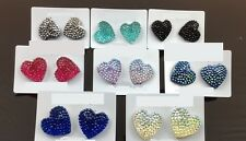 Vintage Cute Lovely Sparkling Heart Earrings Stud Candy Color Gift