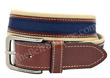 Tommy Hilfiger Men's Khaki & Navy Blue Canvas Web Belt | Size 32 - 44  | 08-4811