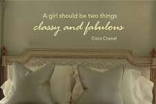 A Girl Should Be Classy & Fabulous - Coco Chanel - Wall Art Decal Decor Sticker