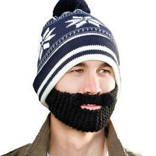 Beard Heads Stubble Bumper Snowflake Knit Hat with Built In Beard #STB1002B