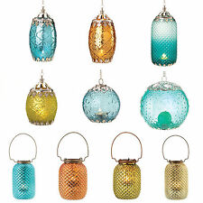 Beautiful Hanging or Tabletop Glass CANDLE LANTERNS Silver Accent Candleholders