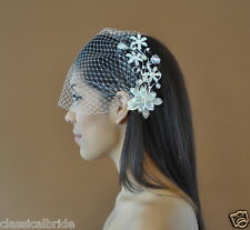 Bandeau 73 Veil Set w/ SILVER PEARL FLOWER Hair Comb & Ivory or White Birdcage