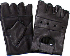 Genuine Cowhide Leather Bikers' Fingerless Driving All-Purpose Gloves # 2502NV