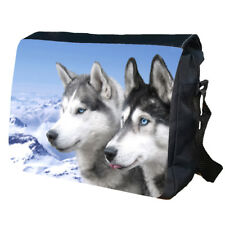 HUSKY Wolf Wolves Animal Wild Indian Native School College Messenger Bag