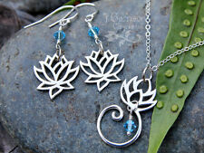 Zen lotus flower necklace & earring set –sterling silver & aquamarine crystal